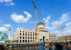 Construction site Berlin City Palace with TV tower in background (Germany)