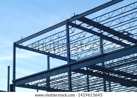 construction site building metal structure beams frame #1419613643
