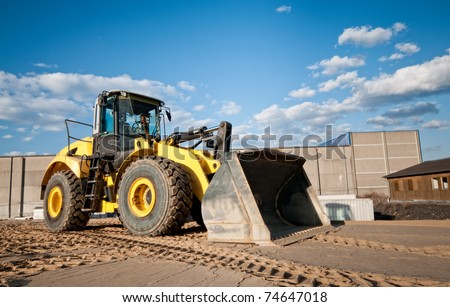 Construction site bulldozer