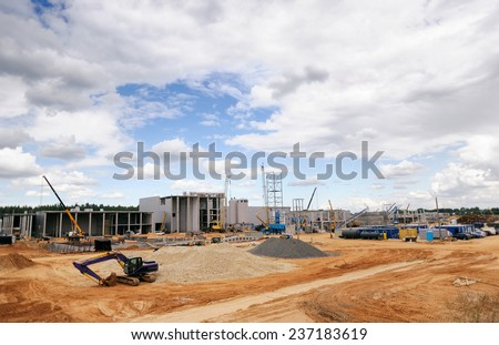 Construction Site, construction machinery, bulldozer, excavation, factory