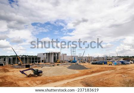 Construction Site, construction machinery, bulldozer, excavation, factory
