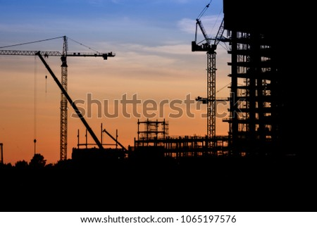 Construction site crane at dusk crane