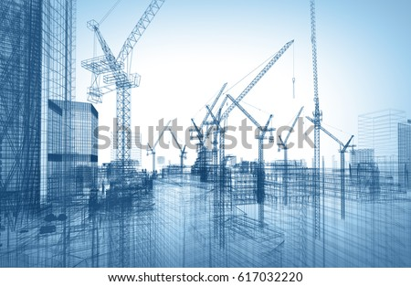 construction site; 3d illustration