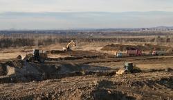Construction site, earthworks, top view. Construction engineering. Ust-Kamenogorsk (Kazakhstan)