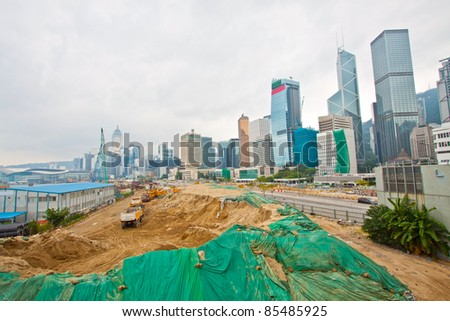 Construction site for new highway in Hong Kong