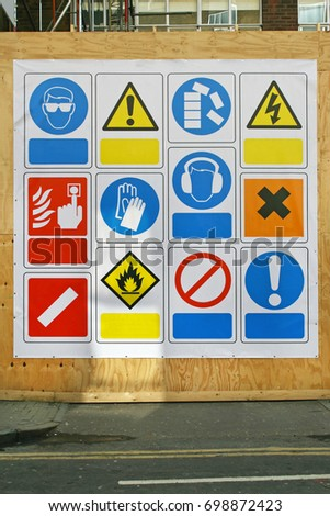 Construction site health and safety signs and symbols #698872423