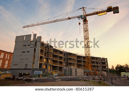 Construction site in morning dawn