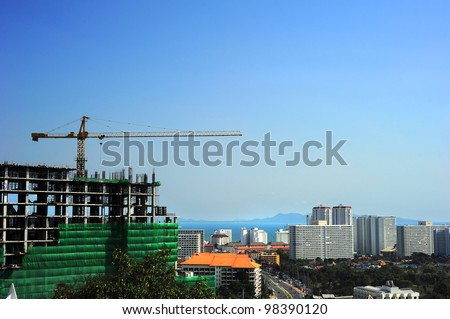 Construction site in Pattaya, Thailand. Aerial view