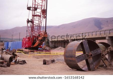 Construction site near bridge in Los Angeles, CA.
