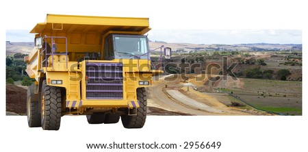 Construction site new highway under construction with giant dump truck