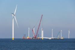 Construction site new offshore wind farm near the Dutch coast