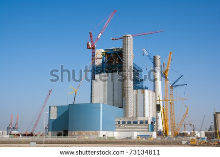 Construction site of a large industrial building