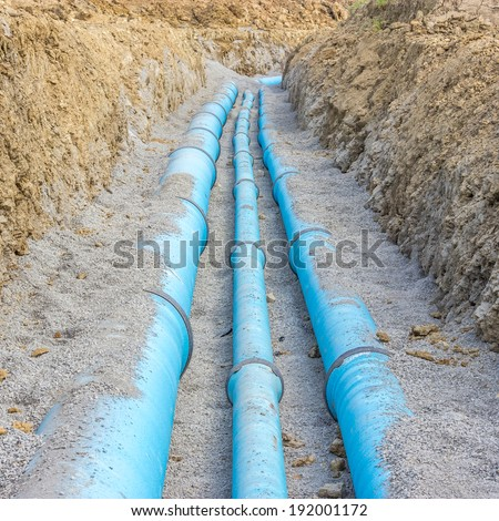 Construction site of a water pipe