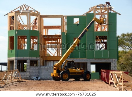 construction site of beach home at st augustine beach florida usa