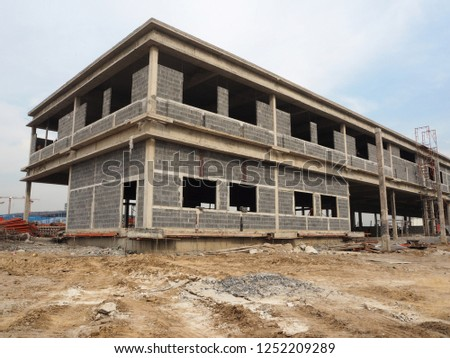 construction site of building edifice house structure structuring formatting #1252209289