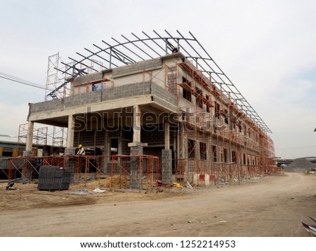 construction site of building edifice house structure structuring formatting #1252214953