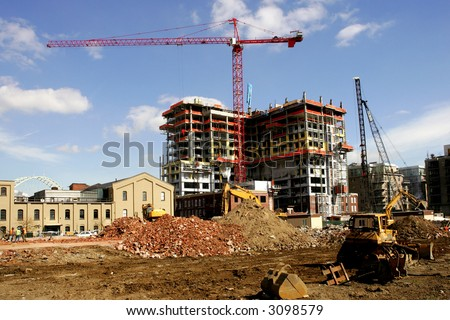 Construction site of new high rise apartment building