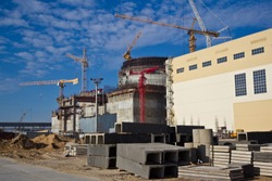 Construction site of new modern nuclear power plant.