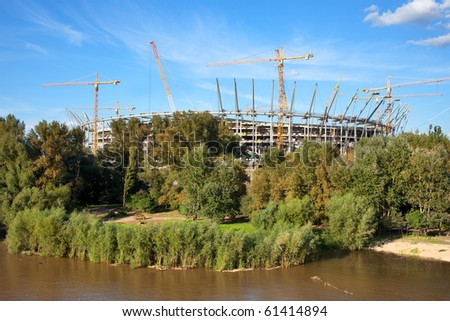 Construction site of the National Football Stadium in Warsaw, Poland. Development for European Football Championship in Poland and Ukraine in 2012.