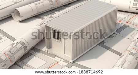 Construction site office, cargo container box model on building blueprint plans background. Industrial project design. 3d illustration Foto stock ©