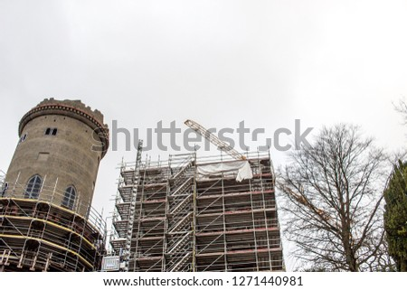 construction site old castle germany, Kassel stock photo