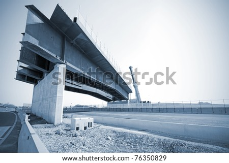 Construction site on highway, bridge under construction