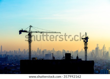 Construction site on the sky in twilight time background. #357992162