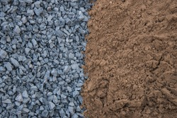 Construction site rocks and sand pile
