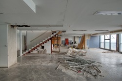 Construction site scene of commercial office