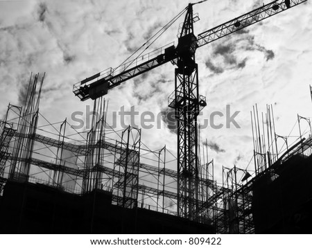 Construction Site Silhouette -- with crane and scaffolding