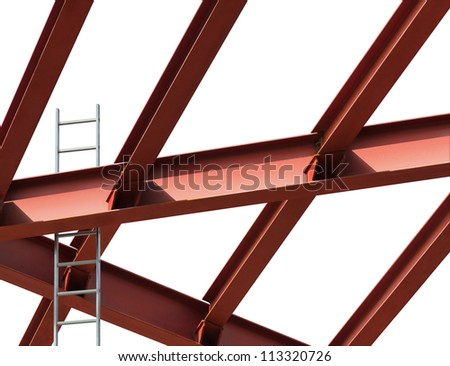 Construction site. Steel beams and ladder on a white background. - stock photo