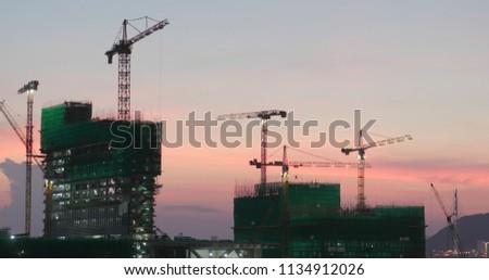Construction site sunset