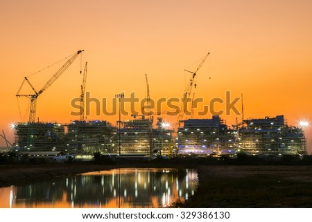 Construction site sunset in the evening.