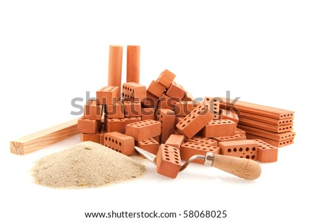 construction site to build a house isolated over white - stock photo