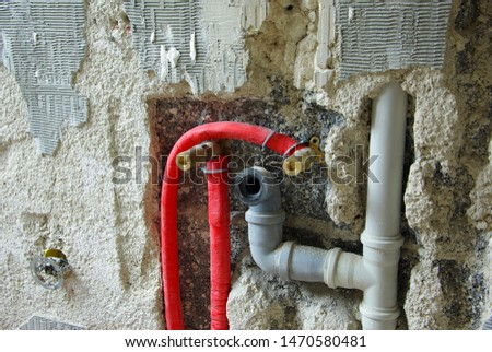 Construction site, waste water pipe, sewer pipe, renew #1470580481