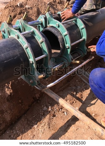 Cutting HDPE pipe Images and Stock Photos - Avopix com