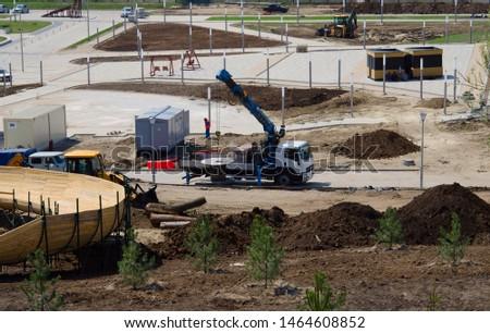 Construction site with construction crane