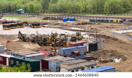 Construction site with construction equipment