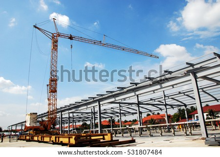 construction site  with crane - Shutterstock ID 531807484