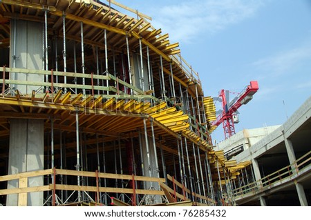 Construction site with crane fragment