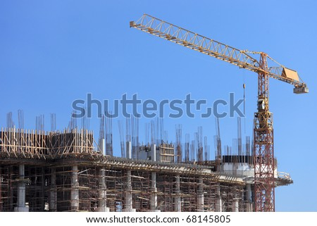 Construction site with crane over a building in Skopje, Macedonia