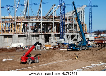 construction site with heavy equipment. - stock photo