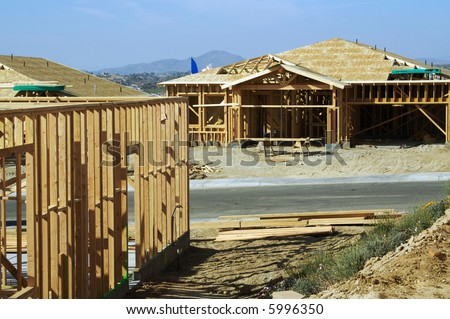 Construction site with new homes.