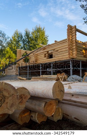 Construction site with wooden building #342549179