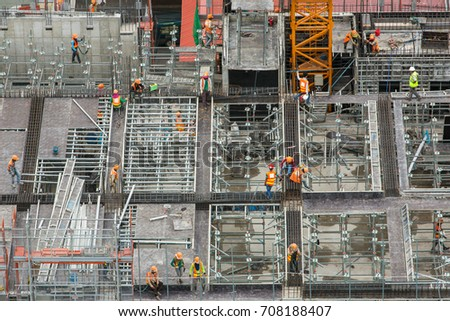 Construction site workers. Aerial, top View #708188407