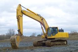 construction site yellow excavator hydrolic digging equipment