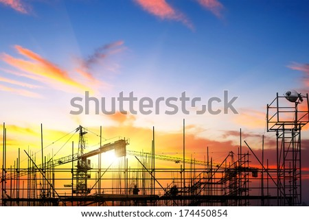 Construction sites, workers are working on scaffolding