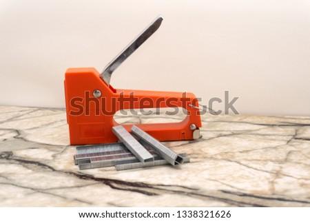 Construction stapler staples wooden planks fastening stapl