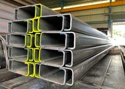 Construction steel profile of C-channel at the warehouse of steel products.thailand