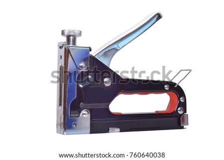 Construction steel stapler isolated on white background